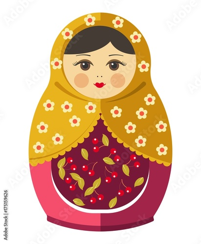Matryoshka doll or Russian nesting doll with ornament