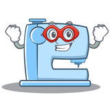 Super hero sewing machine emoticon character - 175160894