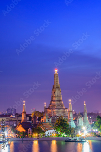 Arun temple(Wat Arun), famous tourist attraction in night time  at  Bangkok thailand Poster