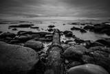 A weathered pipe cuts through the rocky coastline in La Jolla, California - 175164466