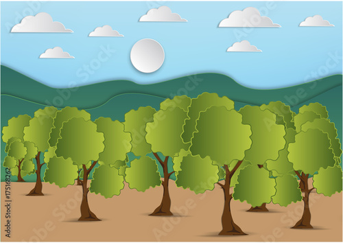 Foto op Aluminium Pool Paper art of mountain and tree with green leaf and the sky with clouds background,vector illustration