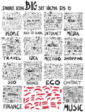 MEGA set of doodles. Super collection of people ,Business and finance, Social media shopping elements, Info, Internet, Creative, Seo, Travel, Banner ribbon, Music, Meeting, Contact, Eco doodle set - 175169689