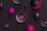 Abstract 3d rendering of geometric shapes. Composition with spheres. Modern background design for poster, cover, branding, banner, placard. - 175171285