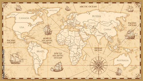 Vector antique world map with countries boundaries © MicroOne