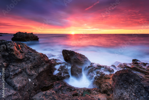 Foto op Canvas Crimson Rocky sunrise / Magnificent sunrise view at the Black sea coast, Bulgaria