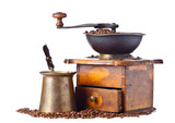 Old coffee grinder, coffee maker and coffee beans - 175176027