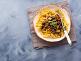 Fusilli pasta with eggplant and tomato sauce. Traditional italian dish - 175176228