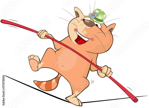 Foto op Plexiglas Babykamer Illustration of a Cute Cat Tightrope Walking. Cartoon Character