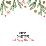 Watercolor vector Christmas banner with fir branches and place for text. - 175180601