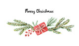 Watercolor vector Christmas wreath with fir branches and place for text. - 175180616