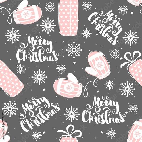 Seamless pattern with Christmas elements. Vector illustration. - 175181281