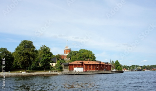 Keuken foto achterwand Stockholm Scenic view of the small red castle, brick citadel Kastellet on the island Kastellholmen in central of the city, sunny day, Stockholm, Sweden