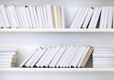 white shelf with books without inscriptions - 175183052