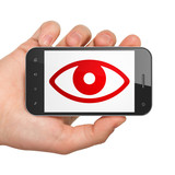 Safety concept: Hand Holding Smartphone with Eye on display - 175183214