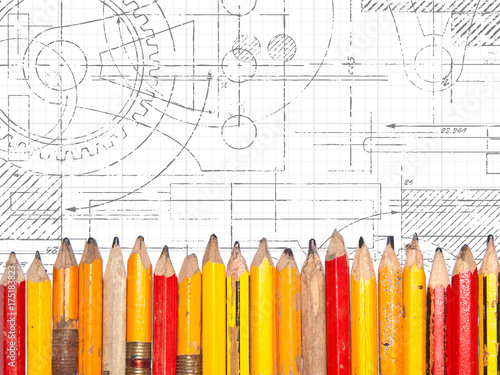 Old Pencils Technical Drawing Poster
