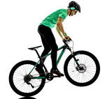 one caucasian man practicing man mountain bike bking isolated on white background with shadows - 175184871