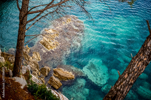 Deurstickers Groen blauw Sea views of the resorts of Petrovac Montenegro