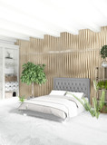 White bedroom or livingroom minimal style interior design with stylish wall and sofa. 3D Rendering. Conept of show room - 175187204