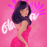 Illustration with beautiful woman. Girl in a pink cocktail dress. Sexy girl. - 175188252