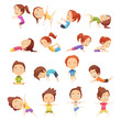 Kids Yoga Decorative Icons Set