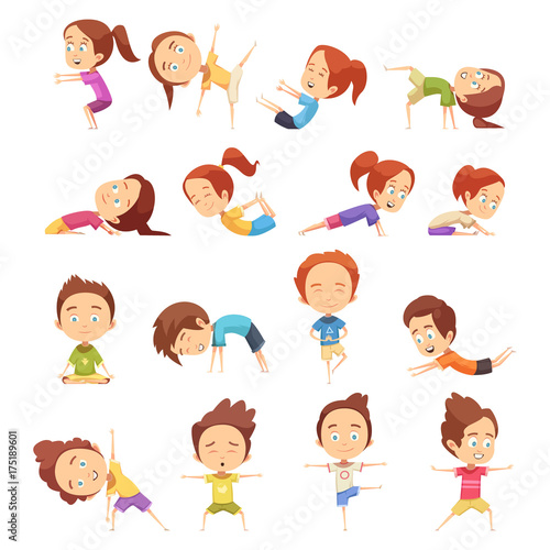 Kids Yoga Decorative Icons Set