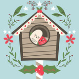Cute lovely bird couple on their house at Christmas with floral leaves mistletoe and stars decoration - 175191439