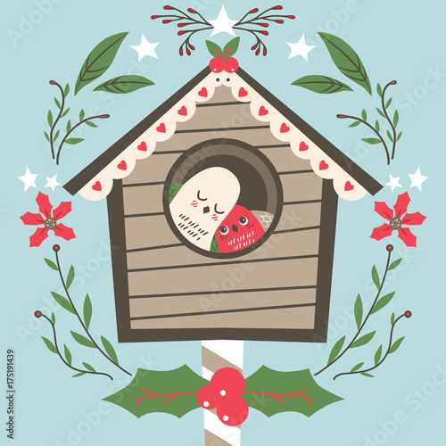 Cute lovely bird couple on their house at Christmas with floral leaves mistletoe and stars decoration