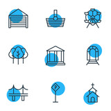 Vector Illustration Of 9 Infrastructure Icons. Editable Pack Of Basket, Ferris Wheel, Forest And Other Elements. - 175192069