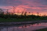 Sonnenuntergang mit Spiegelung in einer Pfütze - 175193694