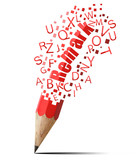 creative pencil with red remark isolate on white