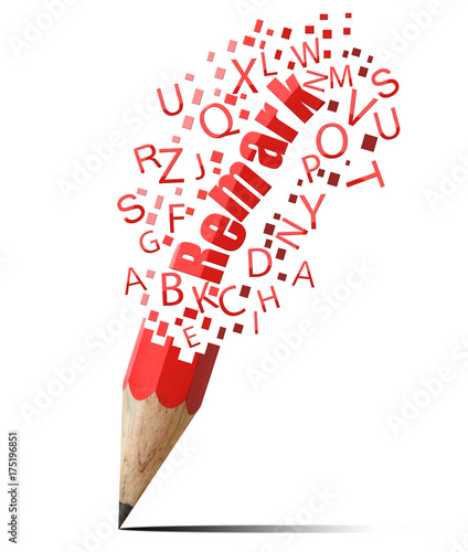 Fridge magnet creative pencil with red remark isolate on white