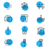 Vector Illustration Of 12  Icons. Editable Pack Of Forest, Basket, Courthouse And Other Elements. - 175197264