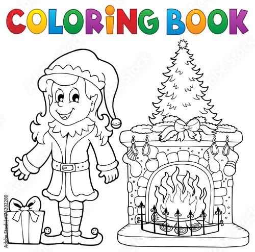 Deurstickers Voor kinderen Coloring book Christmas thematics 7