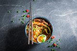 Tasty Kimchi soup with chive and noodles - 175202835