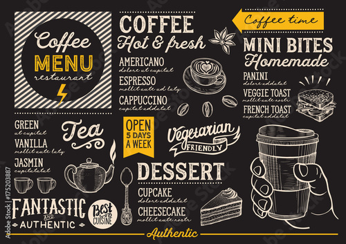 Wall mural Coffee menu restaurant, drink template.