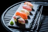 Enjoy your Nigiri sushi with rice and shrimp - 175204251