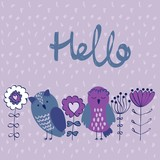 Card with cartoon owls and flowers. Hello