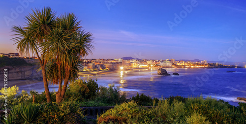 Biarritz city and Bay of Biscay on late evening, France