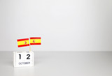 October 12 Wooden calendar Concept independence day of Spain and Spain national day.with space for your text. - 175209438