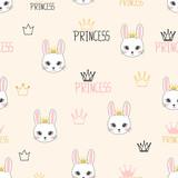 Seamless princess pattern with cute bunnies.