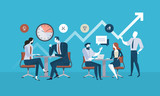 Flat design business people concept for project management, business meeting, working process. Vector illustration concept for web banner, business presentation, advertising material. - 175214256