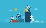 Teamwork success. Flat design business people concept. Vector illustration concept for web banner, business presentation, advertising material. - 175214290