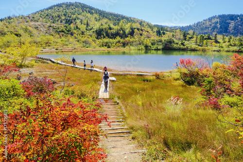 Foto op Canvas Honing 紅葉の弓池とハイカー