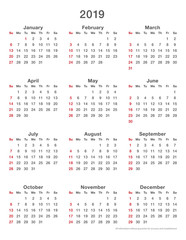 2019 calendar simple sundays first, format high