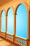 View of the balcony with columns and arches 3D rendering isolated - 175218227