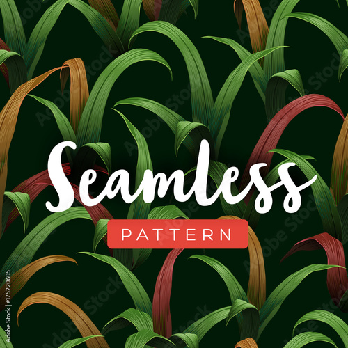 Bright tropical seamless pattern with jungle plants.