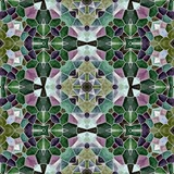 mosaic kaleidoscope seamless pattern texture background - emerald green and purple colored with gray grout - 175220839