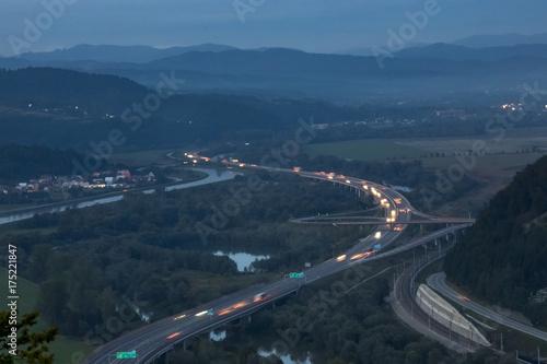 Poster Nacht snelweg evening highway near Povazska Bystrica, Slovakia