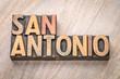San Antonio word abstract in letterpress wood type