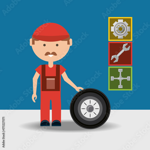 Fotobehang Auto Man and wheel of car service and machine repair theme Vector illustration